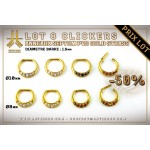 Lot 8 Clickers 1.6mm Septum PVD Gold Strass