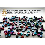 Lot Billes Black Big Strass 3mm 35pcs