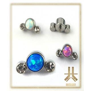 Triple Cabochon Titane Opale Strass