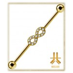 Barbell Indus PVD Gold Infini Strass