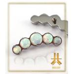 Cabochons Griffés Titane 5 Opales Blanches