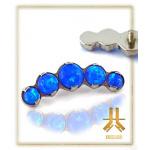Cabochons Griffés Titane 5 Opales Bleues