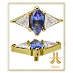 Tête Or 18K Losange Swarovski Topaze Bleu Royal