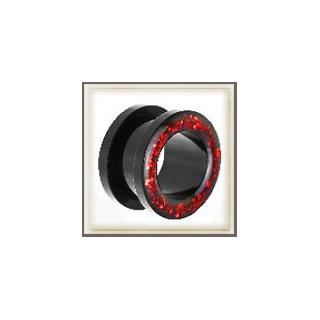 Flesh Tunnel Black Red Glitter Epoxy