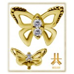 Tête Or 18K Papillon Swarovski