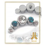 Cabochons Titane 5 Strass Turquoise / Blanc