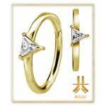 Anneau Conch Clicker Strass Griffés Triangle PVD Gold