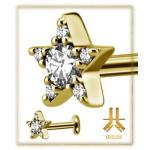 Labret Acier Gold Star 6 strass Swarovski Vissage Interne