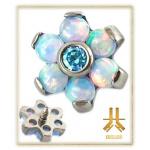 Fleur Titane Opale Blanche Strass Aqua