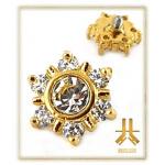 Tête Acier Strass PVD Gold Vissage Interne BG04