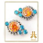 Cluster Titane Strass cerclé n14 Aqua Orange