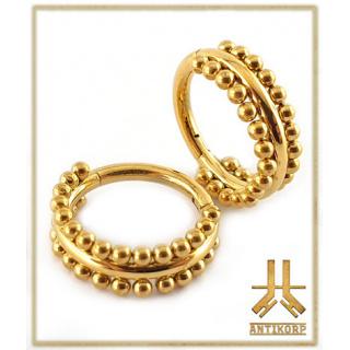 Anneau Clicker Acier PVD Gold Double Cerclage Billes