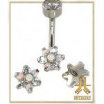 Tête Titane pour barre nombril - Fleur Blanche Opale Strass