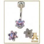 Tête Titane pour barre nombril - Fleur Violette Opale Strass