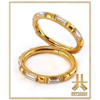 Anneau Titane F136 Clicker PVD Gold Serti Strass Baguettes