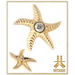 Embout Starfish Or 14K Strass Vissage Interne