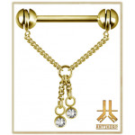 Barbell Teton PVD Gold Chaine Knot Swarovski 05