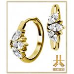 Boucles d'oreilles Acier Gold Marquise Griffée Strass Blancs (paire)