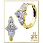 Boucles d'oreilles Acier Gold FlatMarquise Griffée Strass Blancs (paire)