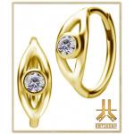 Boucles d'oreilles Acier Gold JeweledEye Griffée Strass Blancs (paire)