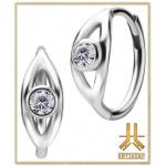 Boucles d'oreilles Acier JeweledEye Griffée Strass Blancs (paire)
