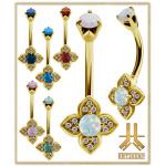 Nombril Acier Gold Opale Antic04 Double Jeweled