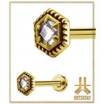 Labret Antic Hexagone Strass Gold vissage interne