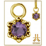 Charms Or 18K Authentique Pierre Rose Amethiste