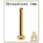 Labret 1mm Titane F136 Threadless PVD Gold
