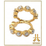 Anneau Clicker Acier PVD Gold 6 Strass Crown
