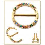 Anneau Clicker Téton Gold PVD Strass Rainbow