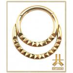 Anneau Clicker Titane F136 PVD Gold Double Ring Pyramides