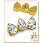 Embout Titane F136 PVD Gold Triple Pear Strass