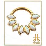 Anneau Clicker Titane PVD Gold Cerclé Pétales Opales