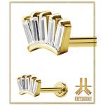 Labret Antic Crown Baguette Strass Gold vissage interne