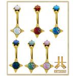 Nombril Acier Gold Opale Antic01 Double Jeweled