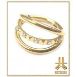 Anneau Clicker Titane F136 Triple Rings Pyramide Strass PVD Gold