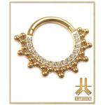 Anneau Clicker Titane F136 PVD Gold Beaded Strass n235
