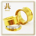 Flesh Tunnel Gold Double Epaulé Vissable