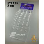 Présentoir Labrets Strass 3mm Griffé Bioplast Blancs