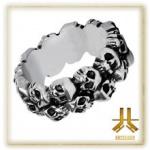 Bague Skulls Circle Acier 316L